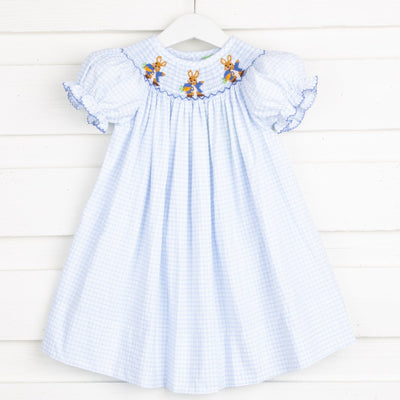 Smocked Storybook Bishop Blue Windowpane Seersucker