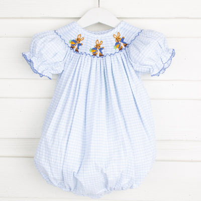 Storybook Rabbit Smocked Bubble Blue Windowpane Seersucker