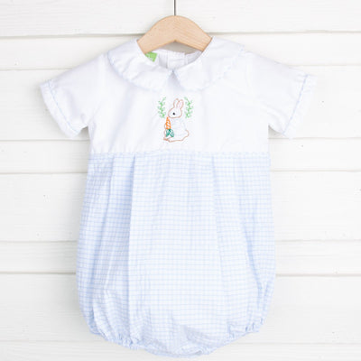 Embroidered Storybook Rabbit Collared Boy Bubble Blue Windowpane Seersucker
