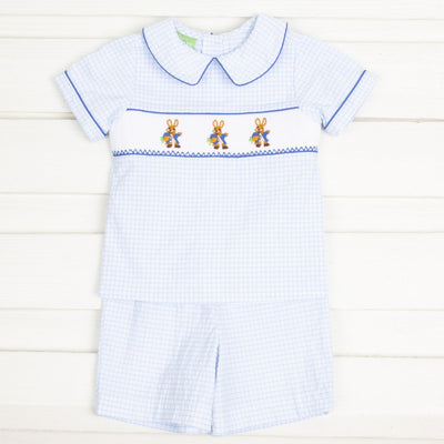 Smocked Storybook Rabbit Collared Short Set Blue Windowpane Seersucker