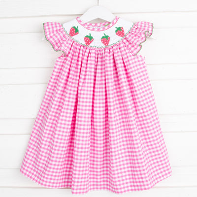 Strawberry Smocked Dress Hot Pink Check