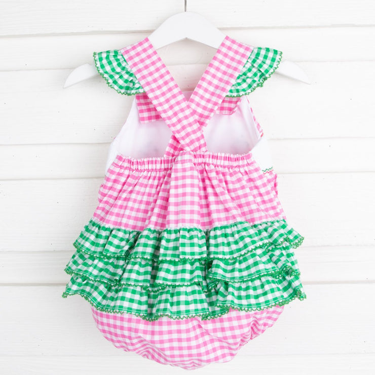 Strawberry Smocked Ruffle Bubble Hot Pink Check