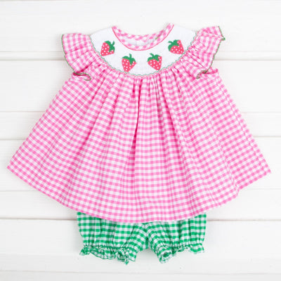 Strawberry Smocked Bloomer Set Hot Pink Check