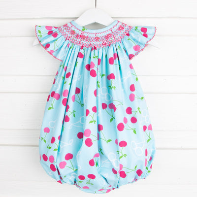 Cherry Print Geometric Smocked Angel Sleeve Bubble