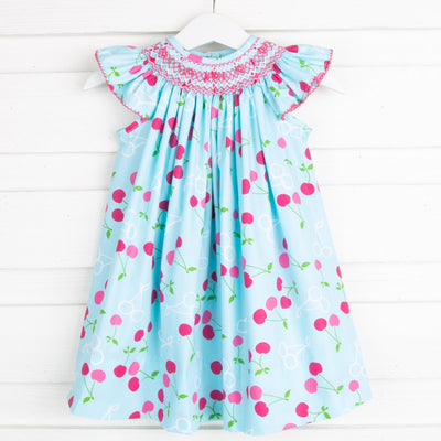 Cherry Print Geometric Smocked Angel Sleeve Dress
