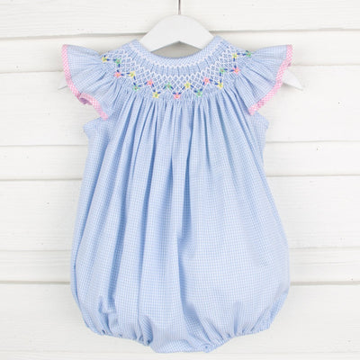 Peach Floral Smocked Bubble Light Blue Gingham