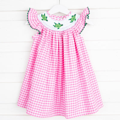 Sea Turtle Smocked Dress Pink Gingham
