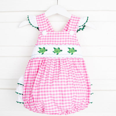Sea Turtle Smocked Ruffle Bubble Pink Gingham