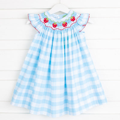 Strawberry Smocked Dress Turquoise Check