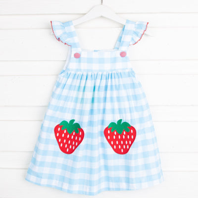 Strawberry Applique Jumper Turquoise Check