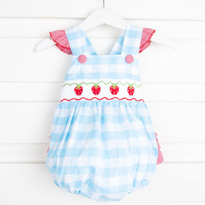 Strawberry Smocked Ruffle Bubble Turquoise Check