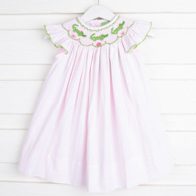 Alligator Smocked Dress Pink Seersucker Stripe