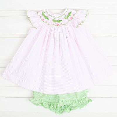 Alligator Smocked Short Set Pink Seersucker Stripe