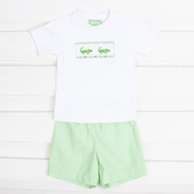 Alligator Smocked Short Set Lime Green Gingham