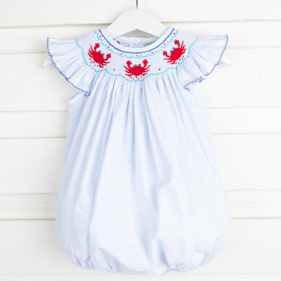 Crab Smocked Bubble Blue Windowpane Seersucker