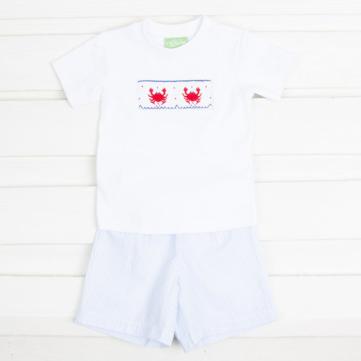 Crab Smocked Short Set Blue Windowpane Seersucker