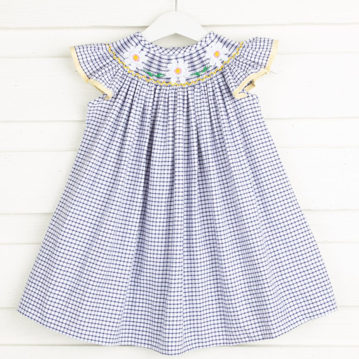 Daisy Smocked Dress Navy Windowpane Seersucker