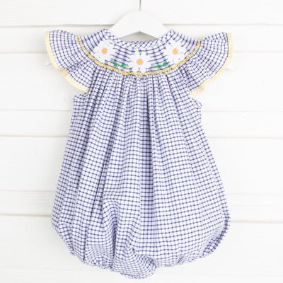 Daisy Smocked Bubble Navy Windowpane Seersucker
