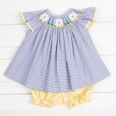 Daisy Smocked Bloomer Set Navy Windowpane Seersucker
