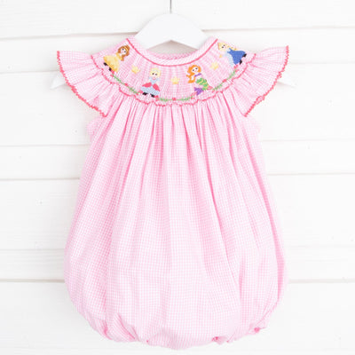 Princess Friends Smocked Bubble Pink Gingham