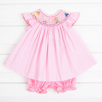 Princess Friends Smocked Bloomer Set Pink Gingham