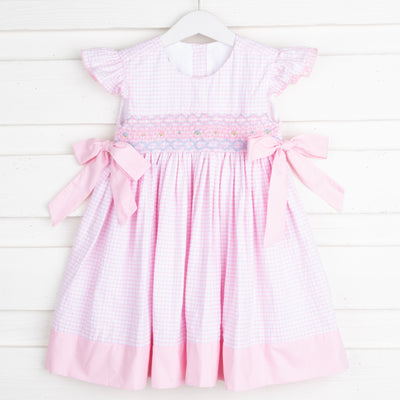 Smocked Beverly Dress Light Pink Windowpane