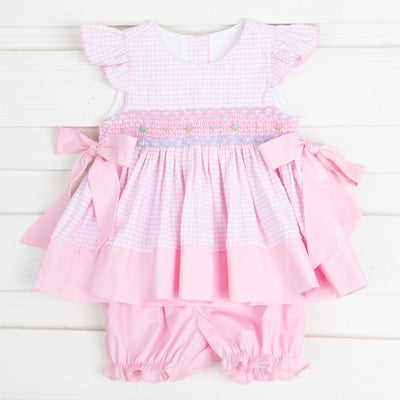 Smocked Beverly Bloomer Set Light Pink Windowpane