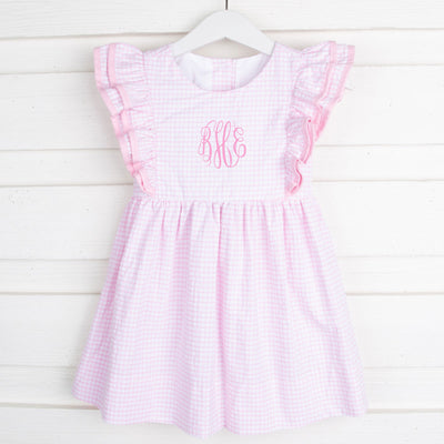 Double Ruffle Dress Light Pink Windowpane