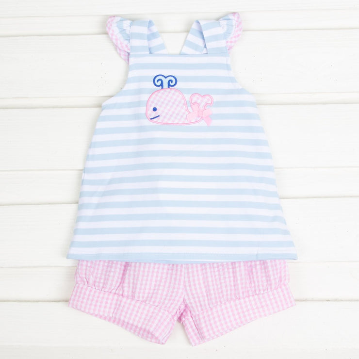 Light Blue Stripe Whale Short Set