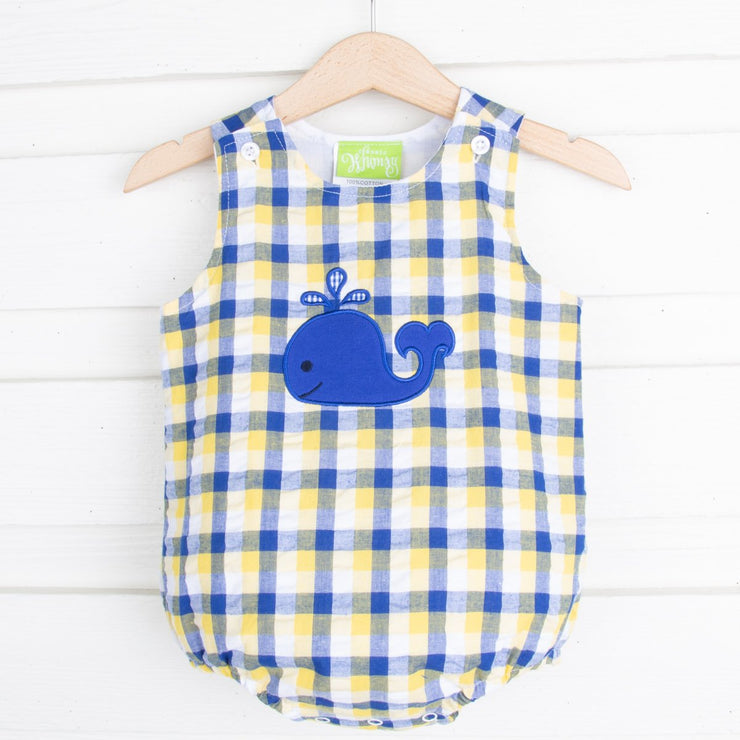 Yellow and Royal Plaid Whale Boy Bubble