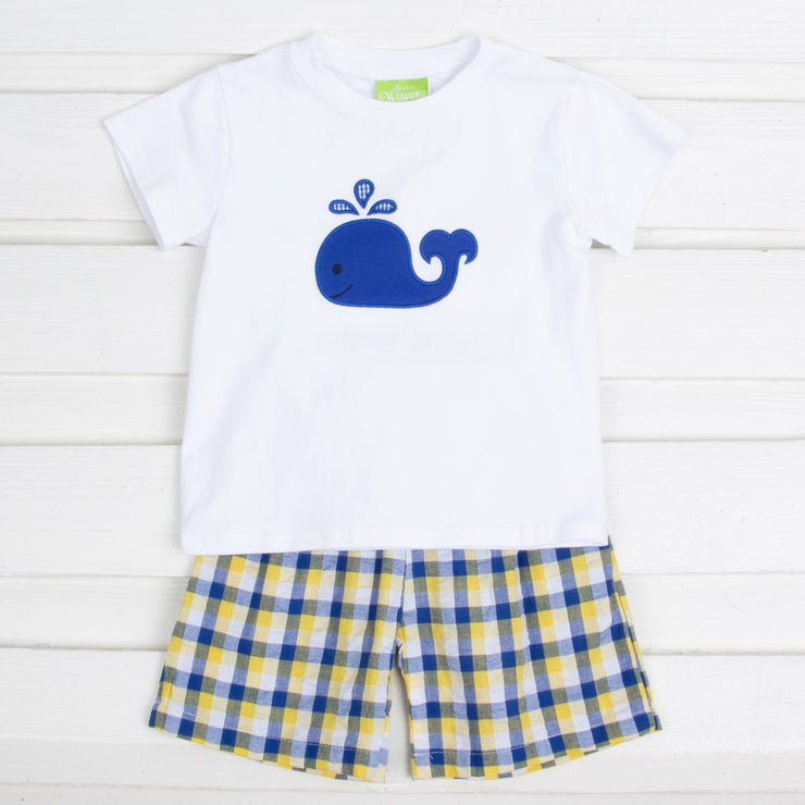 Yellow and Royal Plaid Whale Short Set