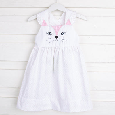 Kitty Face Embroidered Dress Light Pink Dot