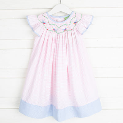 Sweet Bird Smocked Dress Light Pink Seersucker Stripe