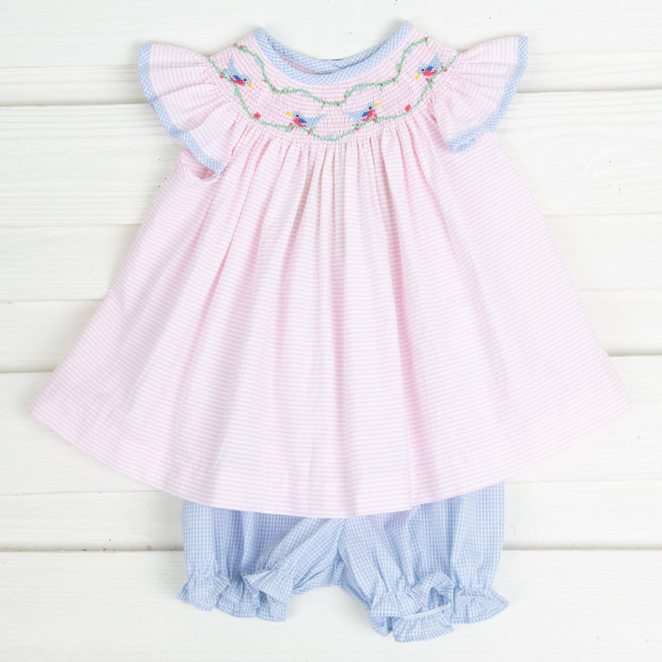 Sweet Bird Smocked Bloomer Set Light Pink Seersucker Stripe