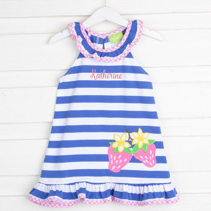 Blue Stripe Strawberry Ruffle Collar Dress