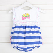 Blue Stripe Strawberry Button On Bib Bubble