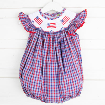 Patriotic Smocked Bubble Plaid
