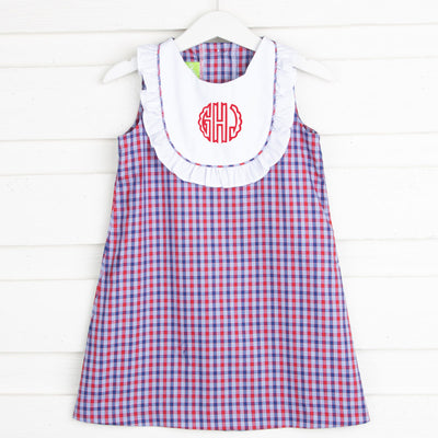 Patriotic Plaid Bib Dress