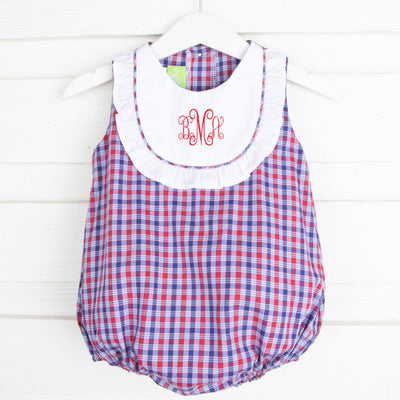 Patriotic Bib Bubble Plaid
