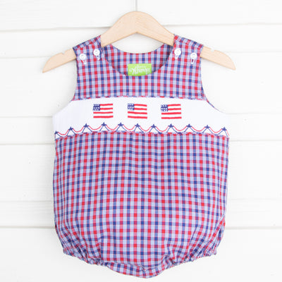 Patriotic Smocked Boy Sun Bubble Plaid