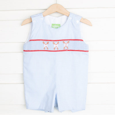 Baseball Smocked Jon Jon Light Blue Gingham