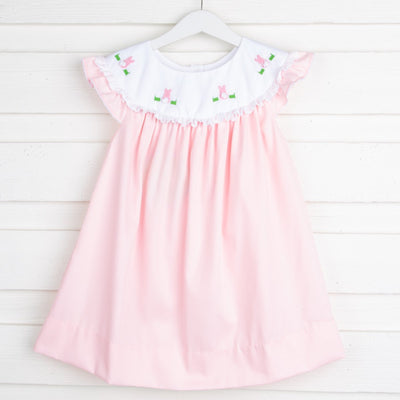 French Knot Bunny Embroidered Yoke Neck Dress Pink Pique
