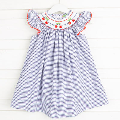Cherry Smocked Dress Navy Windowpane Seersucker