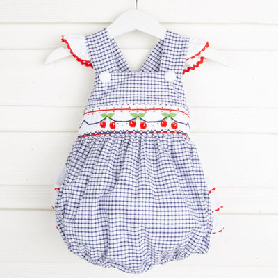 Cherry Smocked Ruffle Bubble Navy Windowpane Seersucker