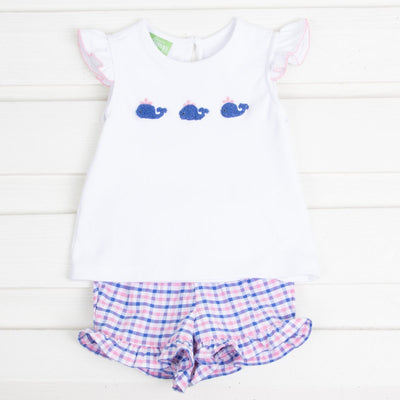 French Knot Whale Embroidered Girls Short Set