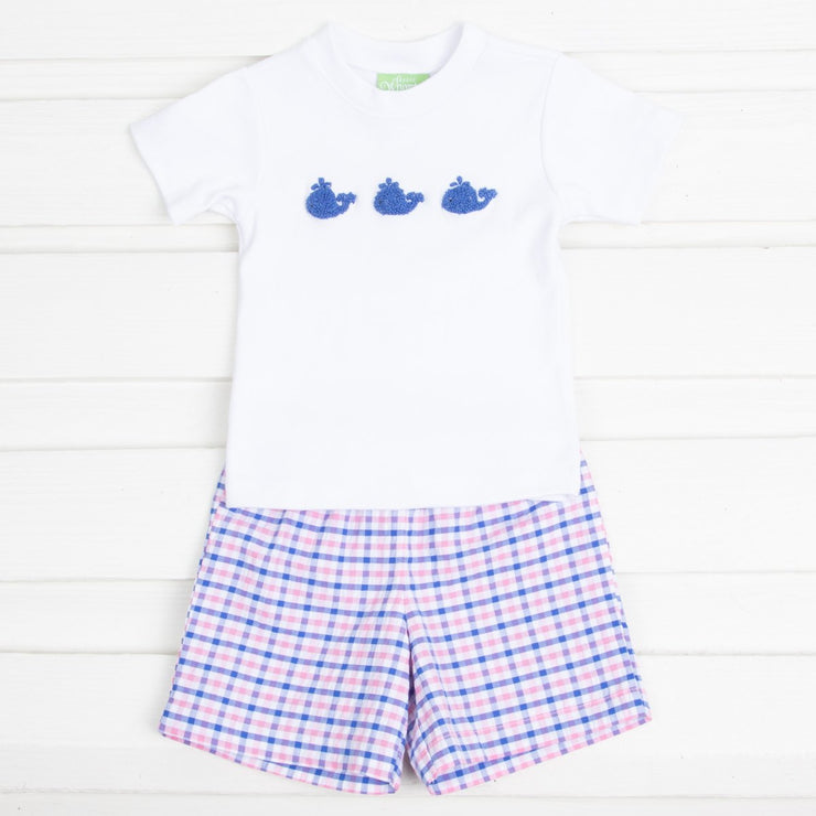 French Knot Whale Embroidered Boys Short Set