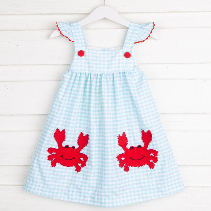 French Knot Crab Jumper Aqua Check