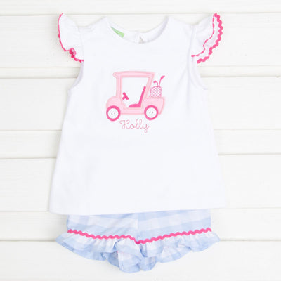 Applique Golf Cart Girls Short Set Light Blue Check