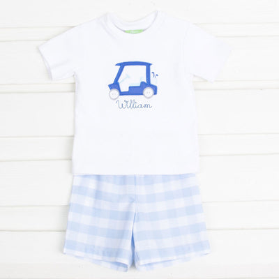 Golf Cart Applique Boys Short Set Light Blue Check