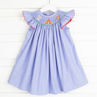 Circus Smocked Dress Royal Blue Gingham
